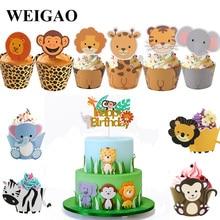 WEIGAO Boy Birthday Cake Decor Zoo Monkey Lion Jungle Party Cake Toppers Safari Birthday Theme Cupcake Wrappers Cake Flags Decor