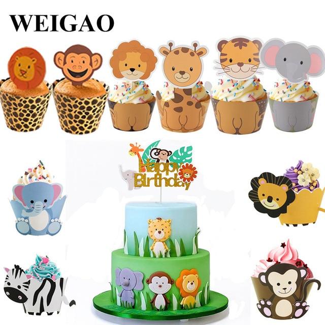 Weigao 少年誕生日ケーキの装飾動物園猿ライオンジャングルパーティーケーキトッパーサファリ誕生日テーマカップケーキラッパーケーキフラグの装飾