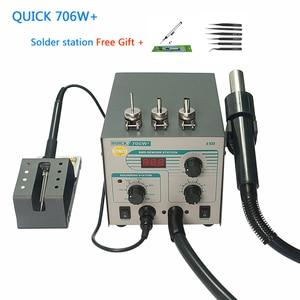 QUICK 706 W + Digital Display Hot Air Gun Soldering Iron Antistatic Temperature 2 in 1 Lead Free Rework Station
