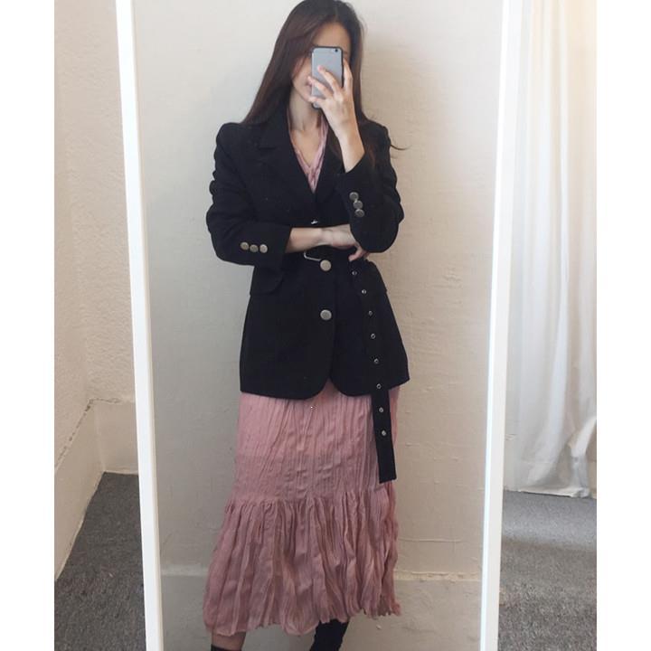 2019 femmes rétro col rabattu Blazer manteau solide simple boutonnage ceinture longue costume Outwear automne décontracté veste