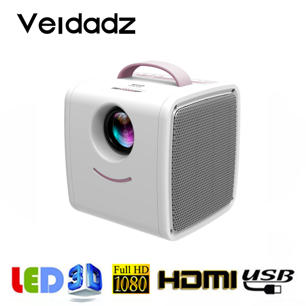 VEIDADZ Q2 LCD Mini Portable One Hand Gripped Support 1080P HD HDMI-Compatible USB VGA Porket Projector for Children Study