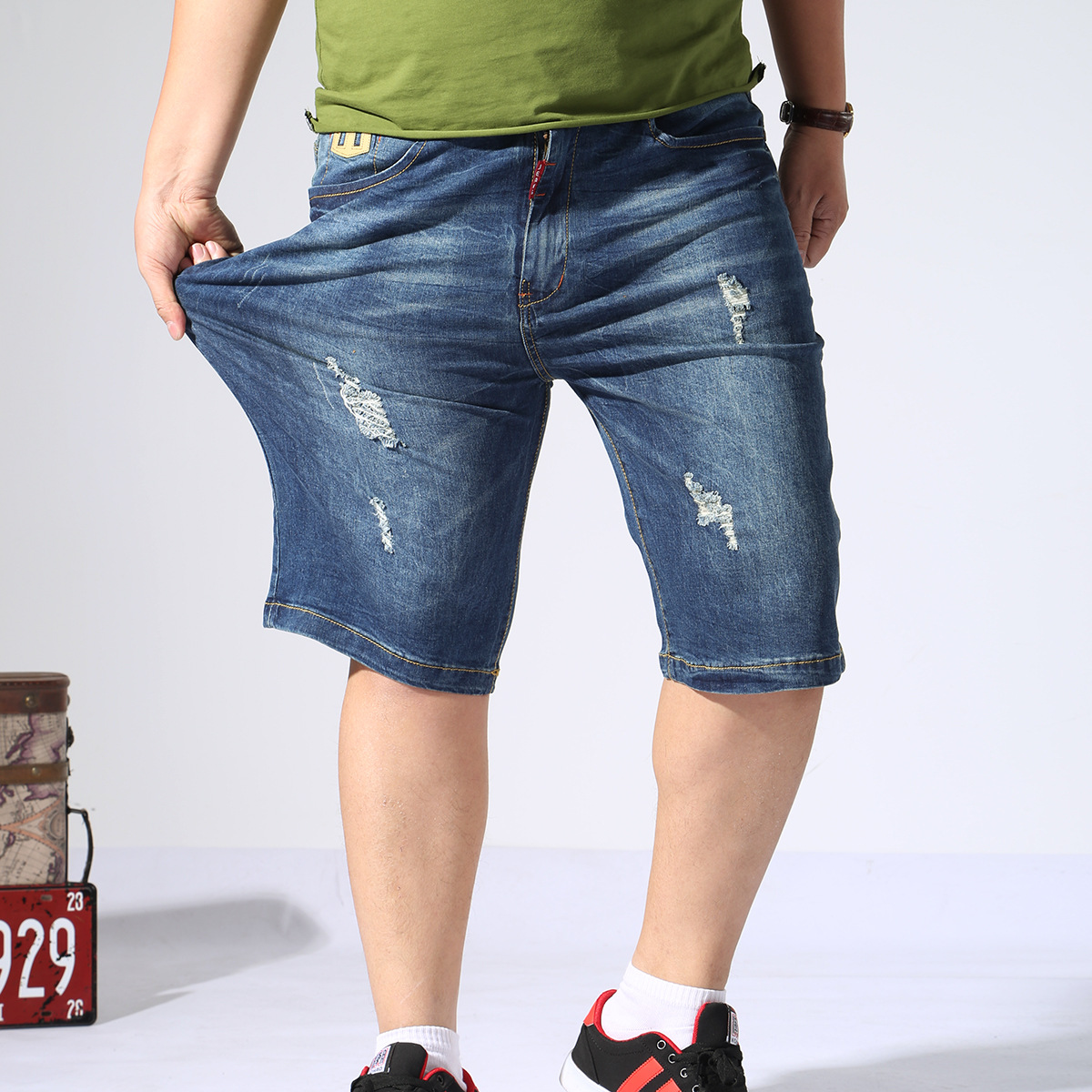 Thin With Holes Large Size Capri Jeans Men's Fat Summer Elasticity Straight-Cut Plus-sized Capris 16701