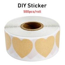 500pcs/roll heart-shaped blank kraft paper sealed label stickers DIY gift packaging sealing scrapbook sticker stationery