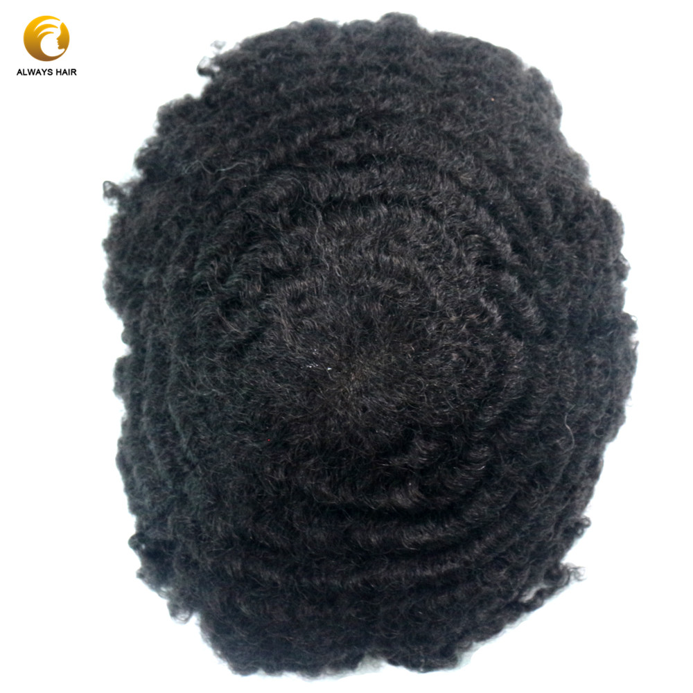 Alwayshair AFFL 10mm Lace Afro Toupee For Black Men Free Style 6 Inch 130% Density Indian Human Hair Afor Wig