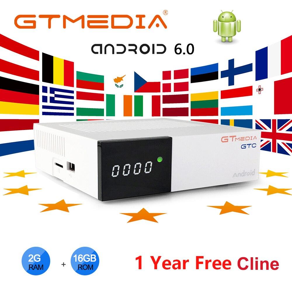 GTmedia GTC Android TV BOX unterstützung 2,4G/5G WIFI unterstützung IPTV abonnement M3U Netflix media box + 1 jahr 5clines Smart TV BOX