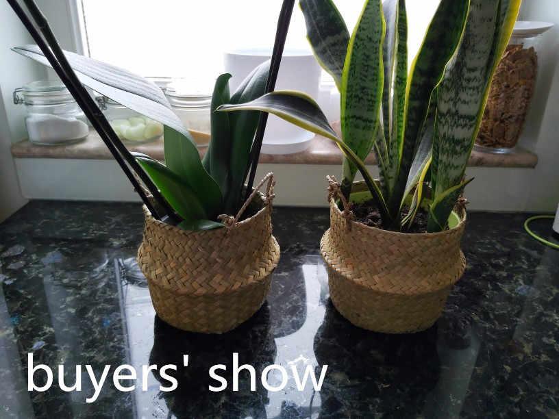12x16x15 سنتيمتر سلة التخزين الروطان سلة من القش الخوص Seagrasss للطي الغسيل زهرة أصيص زرع زهرية المنزل سلة معلقة