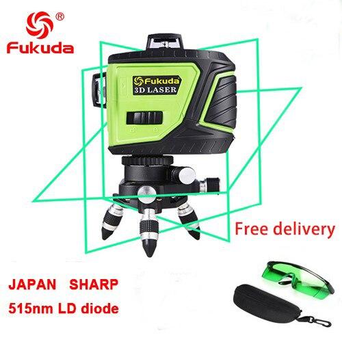 Фукуда бренд 12 линии 3D MW-93T-3GX лазерный уровень наливные 360 горизонтальный и вертикальный крест супер мощный зеленый лазер луч линии - Цвет: 3GX 515nm green  1