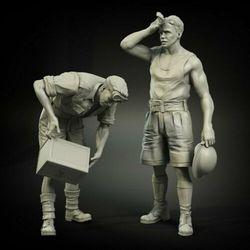 Conjunto de reabastecimento britânico antigo, 1/35, inclui 2 kits de figura de resina modelo gk sem montagem em miniatura