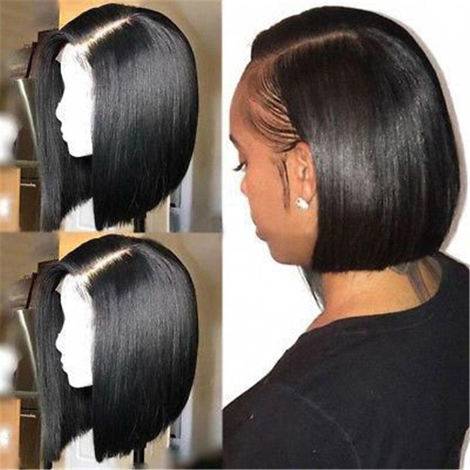 Perruque de cheveux raides péruvien Bob perruque MIHAIR 13*4 dentelle avant perruques de cheveux humains pour les femmes noires preplumées avec des cheveux de bébé Remy perruque - 5