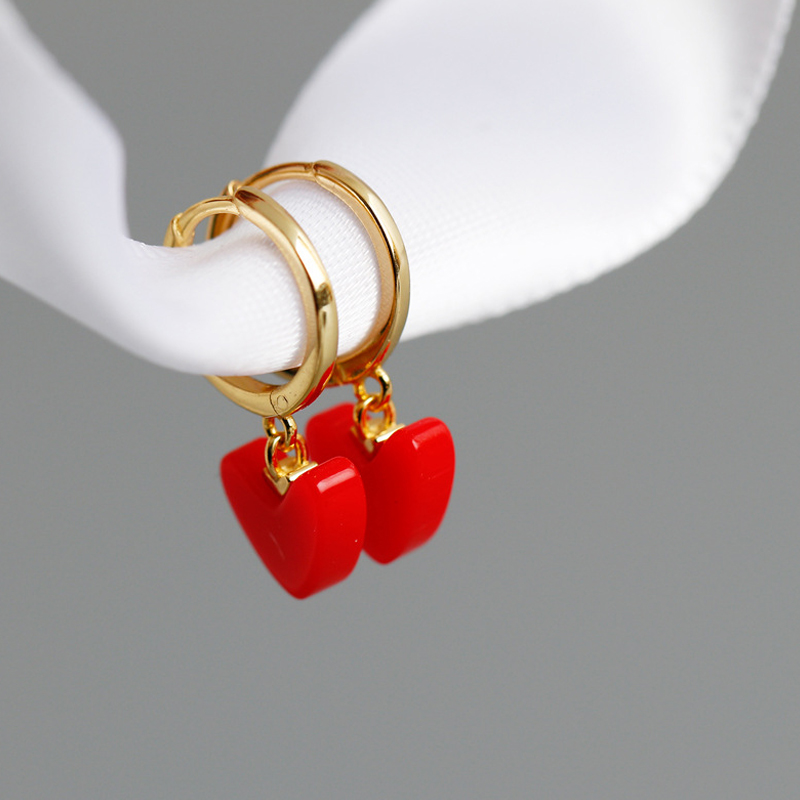LATS Red Heart Dangle Earrings 925 Sterling Silver Light Luxury Golden Love Heart Earrings for Women 2020 Fashion Jewelry Gifts(China)