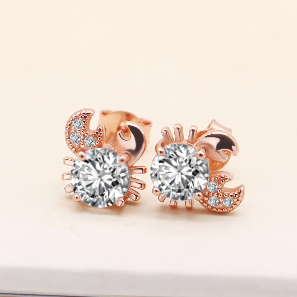Authentic 100% 925 Sterling Silver Sparkling CZ Exquisite Lovely crab Stud Earrings for Women Not allergi Jewelry Christmas Gift