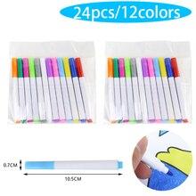 24 шт./лот жидкие Меловые карандаши наклейки для стен детская комната Классная доска стираемая не-пыль Мел съемный Маркер ручки, кавайные канцелярские принадлежности