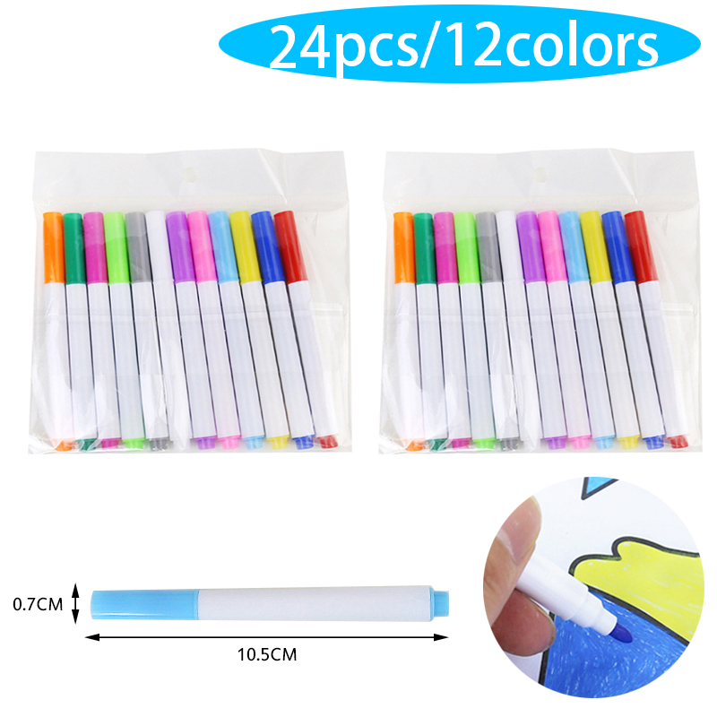 24pcs/lot Liquid Chalk Pens For Wall Sticker Kids Room Blackboard Erasable Non-dust Chalk Removable Marker Pen Kawaii Stationery