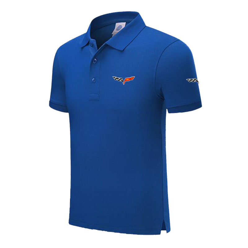 Top Quality Summer New Men's Short Sleeve Polos Shirts Solid Color Mens Chevrolet Corvette Polos Shirts Male Tops