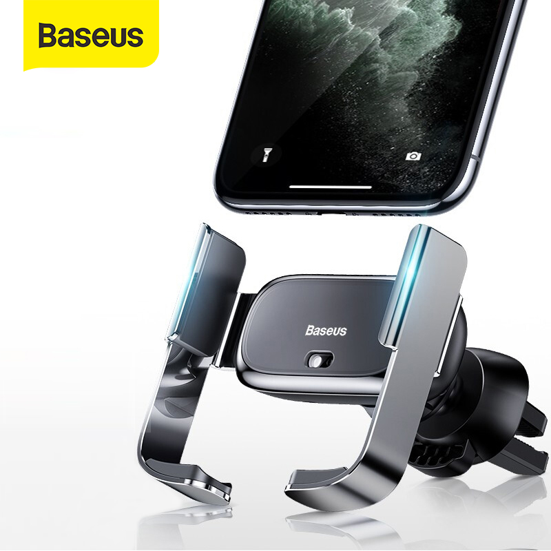 Baseus Car Phone Holder Electric Stand For Iphone 11 XS Samsung 4.7-6.5Inch Phone Air Vent Support Bracket Car Charging Mount