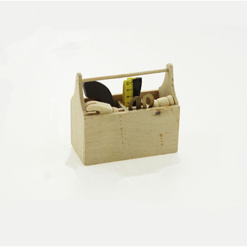 Miniature Tool Box Wooden Toolbox Model For 1/12 Doll House Accessories QDD9803
