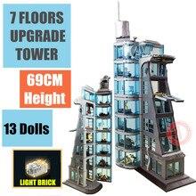 Nowy 7 pięter ulepszony żelazny pająk STARK Tower przemysł człowiek figurki Fit Model klocki do budowy cegły prezent dla dzieci zabawki urodziny