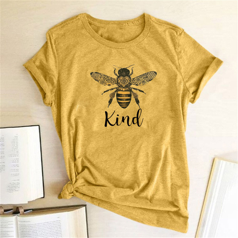 Hillbilly Women Bee Kind T-shirt Aesthetics Graphic Short Sleeve Cotton Polyester T Shirts Female Camisetas Verano Mujer 2020