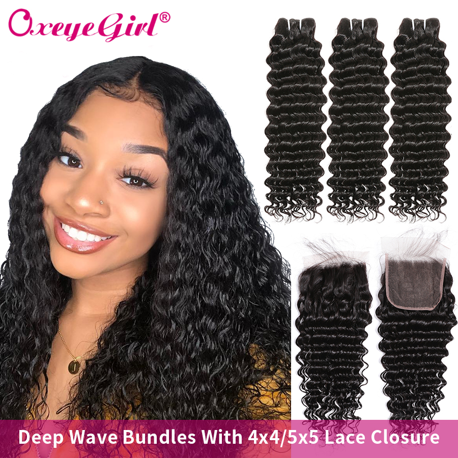Deep Wave Bundles With Closure Human Hair Bundles With 4x4/5x5 Lace Closure Brazilian Hair Weave Bundles Oxeye Girl Remy Hair