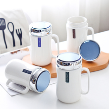 Simple fashion mug with mirror cover Nordic ceramic cup creative leisure coffee High temperature resistance