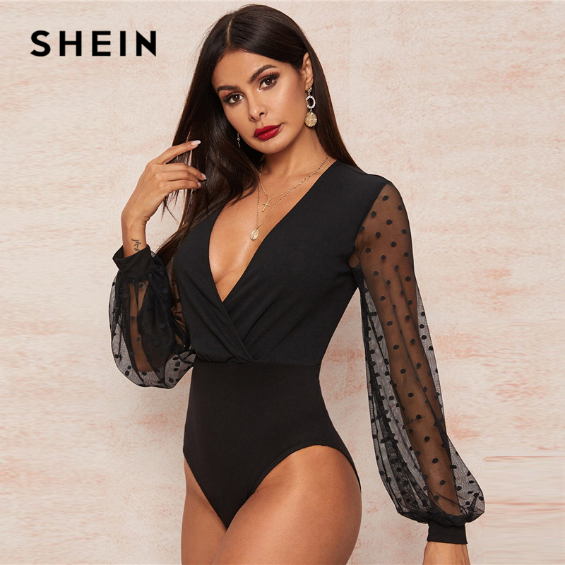 SHEIN Sexy Black Plunging Neck Dobby Mesh Lantern Sleeve Wrap Bodysuit Women Spring Summer Solid Sheer High Waist Bodysuits 2