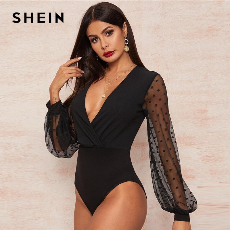 SHEIN Sexy Black Plunging Neck Dobby Mesh Lantern Sleeve Wrap Bodysuit Women Spring Summer Solid Sheer High Waist Bodysuits 2