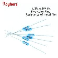 Resistência eletrônica 100 k 10k 18k 22k 30k 36k 47k 56k 62k 1% k 5.6k 110k 130k 2 ohm resistência eletrônica resistor 0r-22m do filme do metal dos pces 1/2w