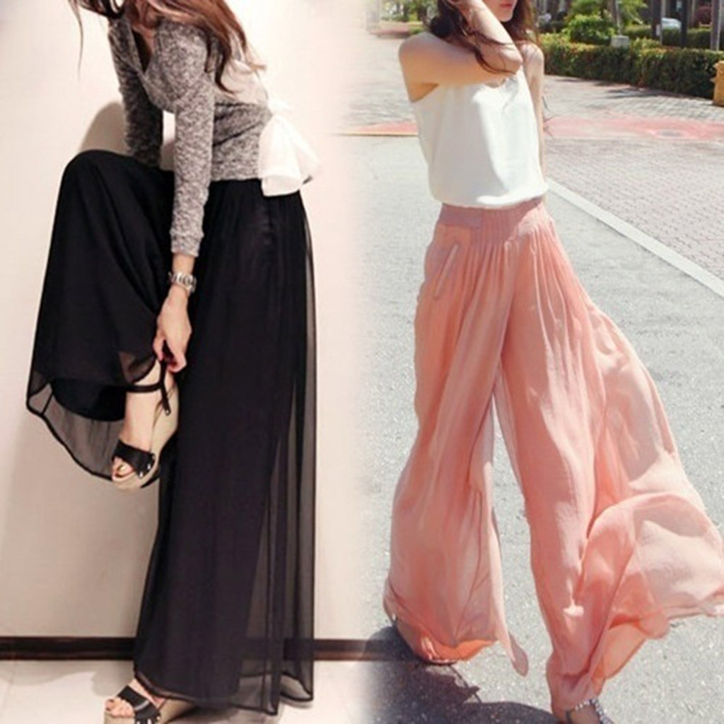 Women Palazzo Pant 2019 Causal Wide Leg Pants For Women Chiffon Trouser Elegant Loose Pure Color Autumn Female Tulle Lining Pant
