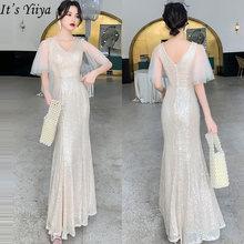 Женское блестящее вечернее платье it's yiiya длинное с v