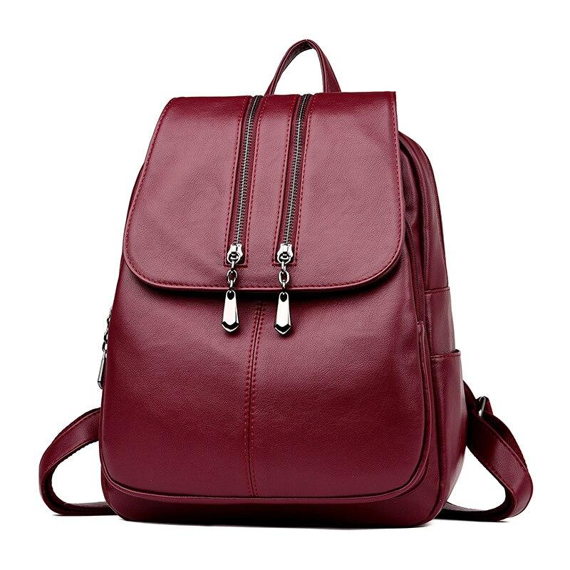 2019 Women Leather Backpacks High Quality Travel Shoulder Bag Female Back Pack Vintage Bagpack Ladies Sac A Dps Female Backpack