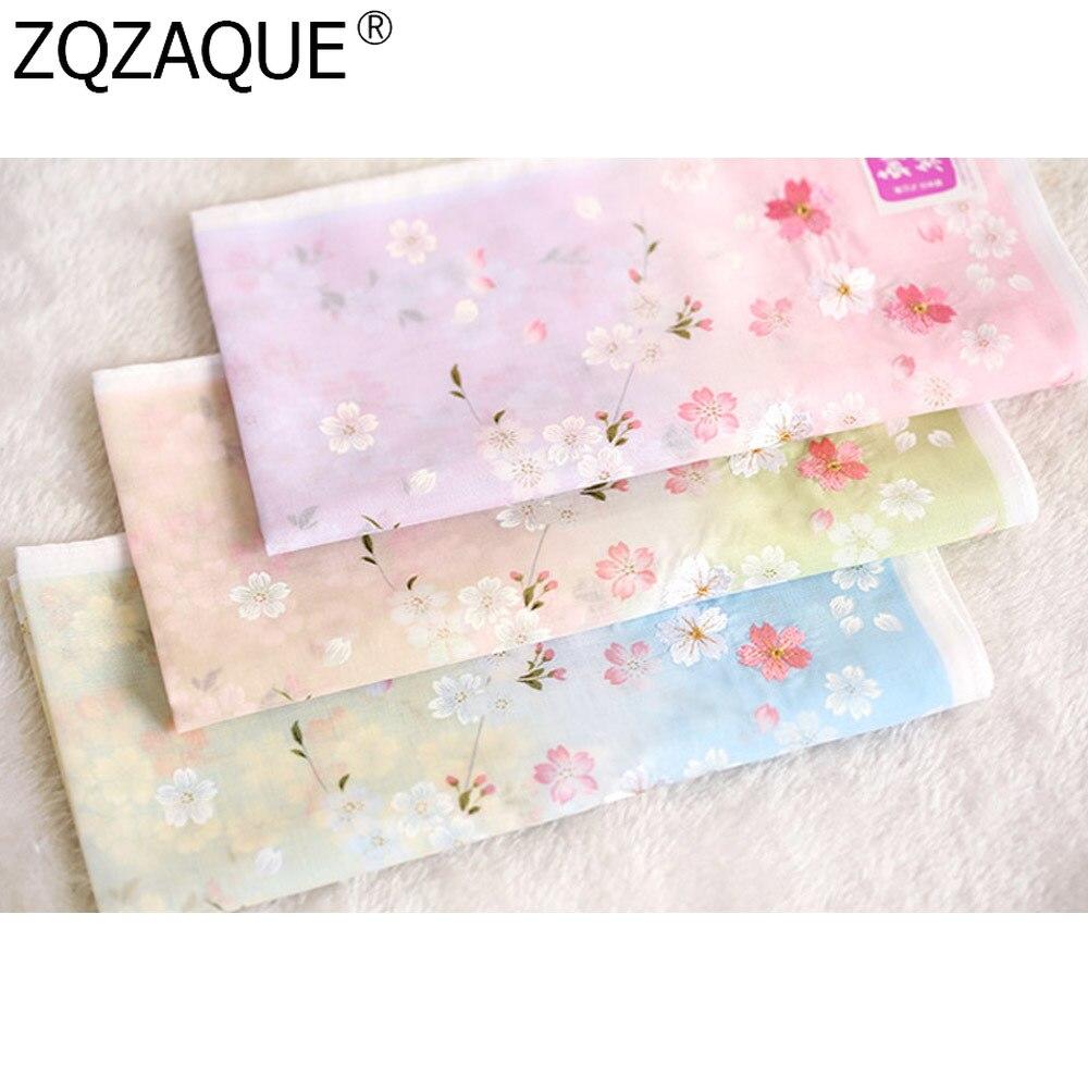 48*48cm High Grade Handkerchiefs For Elegent Women's Soft Nice Cotton Kerchiefs Multi-use Square Hankies Embroidery Sakura Gifts