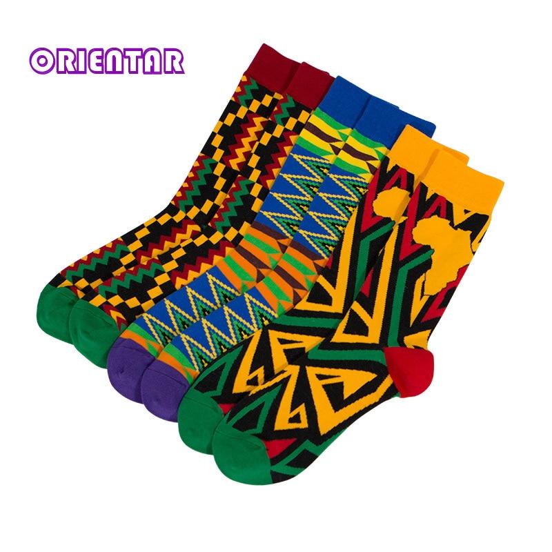 3 Pairs/pack Women Socks African Print Striped Lattice Design Colorful Soft Socks Leisure Skateboard Socks Funny Gift WYB464