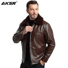 AKSR New Fashion Men Fur Leather Jacket Autumn PU Mens Faux Jackets Jaqueta De Couro Coats