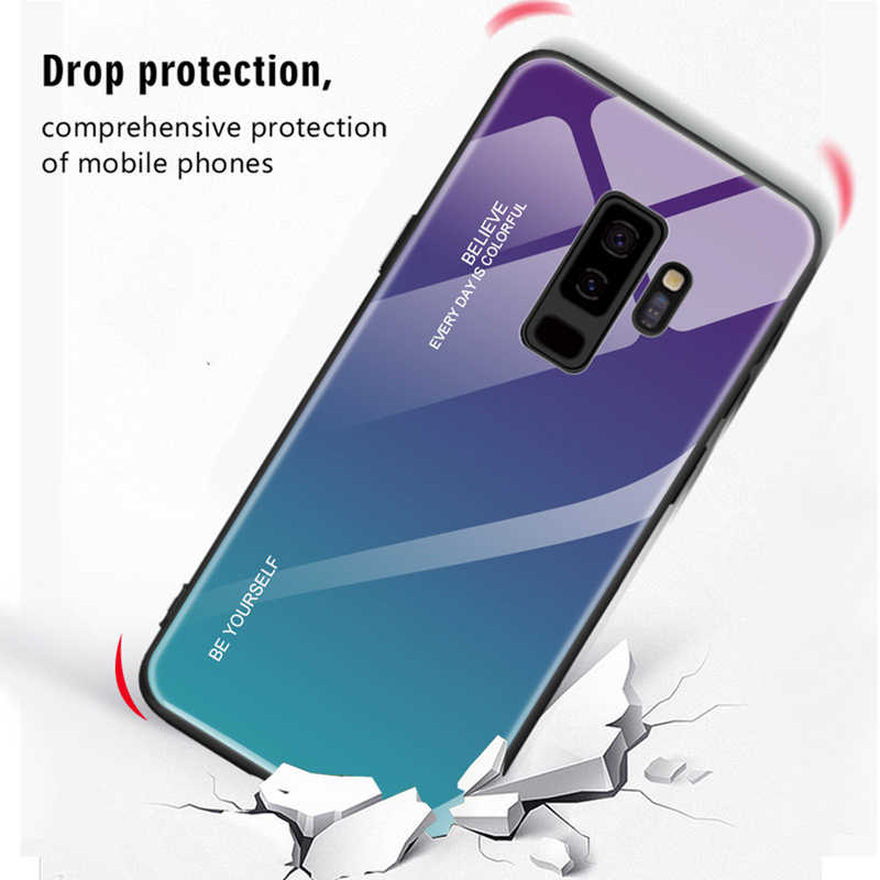 Vansnow Gradient Tempered Glass Phone Case for Samaung Galaxy S10 S8 S9 Plus A30 A50 M20 M10 A5 2017 A6 A8 J4 J6 Plus A9 J8 A7