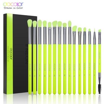 Docolor 15PCS Makeup Brushes Set Eye Shadow Blending Eyeliner Eyebrow Make up Brushes Synthetic hair Eyeshadow Neon Brush