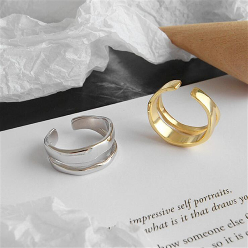 New Fresh Simple Irregular Double-layer Smooth Wave 925 Sterling Silver Jewelry Personality Geometric Opening Rings SR563