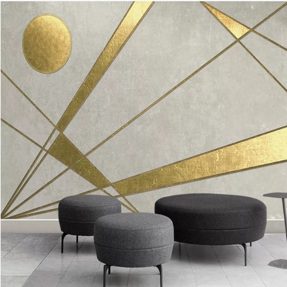Milofy Manufacturers Custom Gold Line Geometric Pattern Living Room Bedroom Background Wallpaper Mural