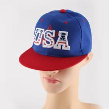 цена на Red Flat Brim USA Letters Embroidered Baseball Caps Blue Cotton Cap for Women Men Adjustable k Pop Hip Hop Hats Streetwear New