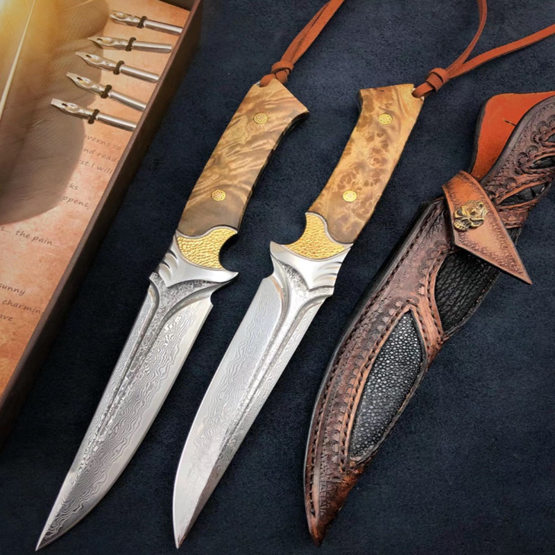 knives 60 61HRC Damascus Steel hunting knife Strong outdoor straight knife High hardness camping manual knife|Knives|   - AliExpress