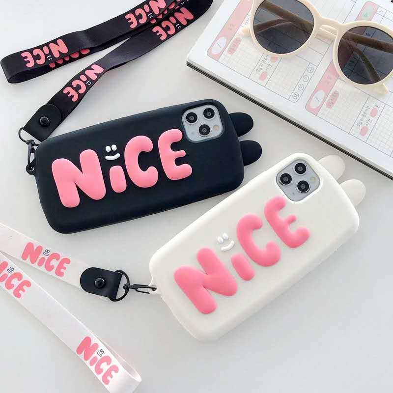 3D Cute Cartoon Rabbit Ears Nice Phone Case For Iphone 12 Mini 11 Pro XS Max X XR English Letters Hanging Rope Strap Soft Cover