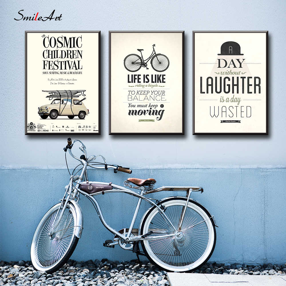Nordic Fashion Bicycles Cars Phrase Quotes Canvas Painting Wall Art Poster Wall Pictures For Living Room Home Decor