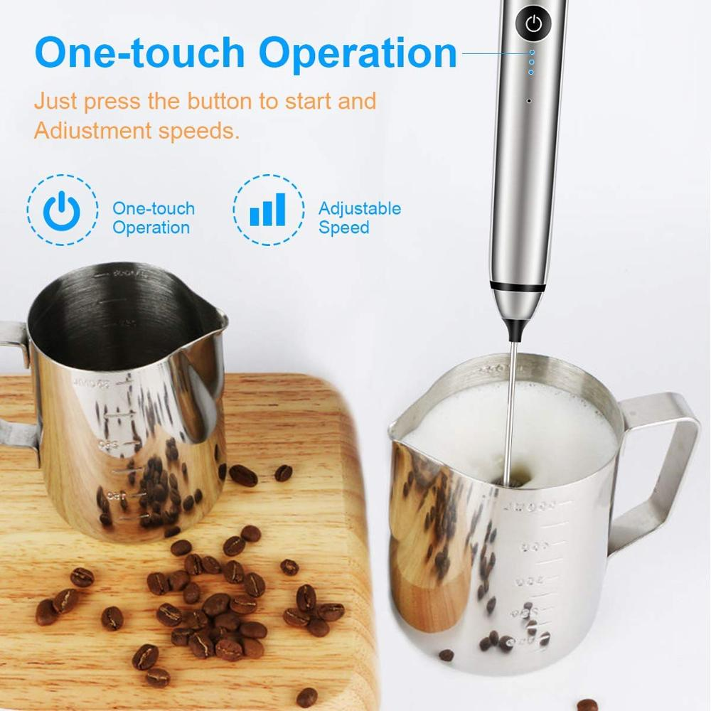 YAJIAO USB Rechargeable Blender Milk Frother Handheld Electric Mixer Foam Maker Stainless Whisk 3 Speed for YAJIAO USB Rechargeable Blender Milk Frother Handheld Electric Mixer Foam Maker Stainless Whisk 3 Speed for Coffee Cappuccino