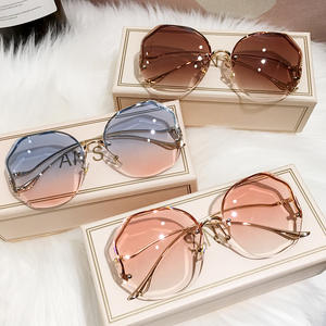 WHO CUTIE 2020 Women Rimless Vintage Sunglasses UV400 Brand Design High Quality Gradient Sun Glasses Shades Female Oculos S384