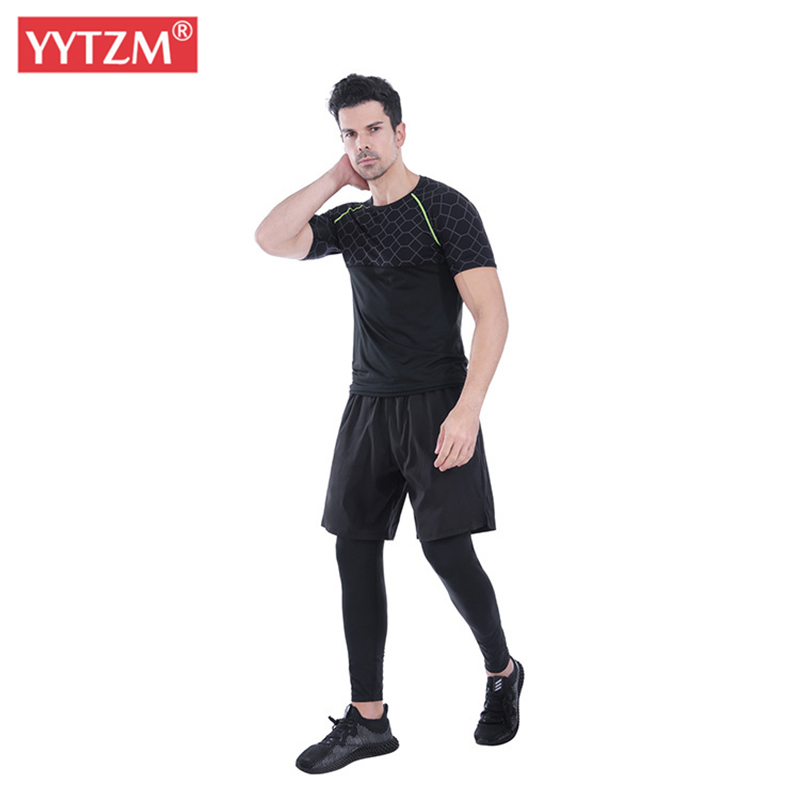 New Men's Leggings Fake Two Pieces Of Fitness Pants Breathable Football Training Gym Legging Stretch Men Jogging Sports Trousers