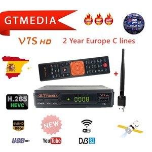 GTMedia V7S HD Satellite Receiver DVB-S2 V7S HD Full 1080P+USB WIFI + 2 Year C lines Upgrade Freesat V7 HD Receptor Sat TV Box(China)