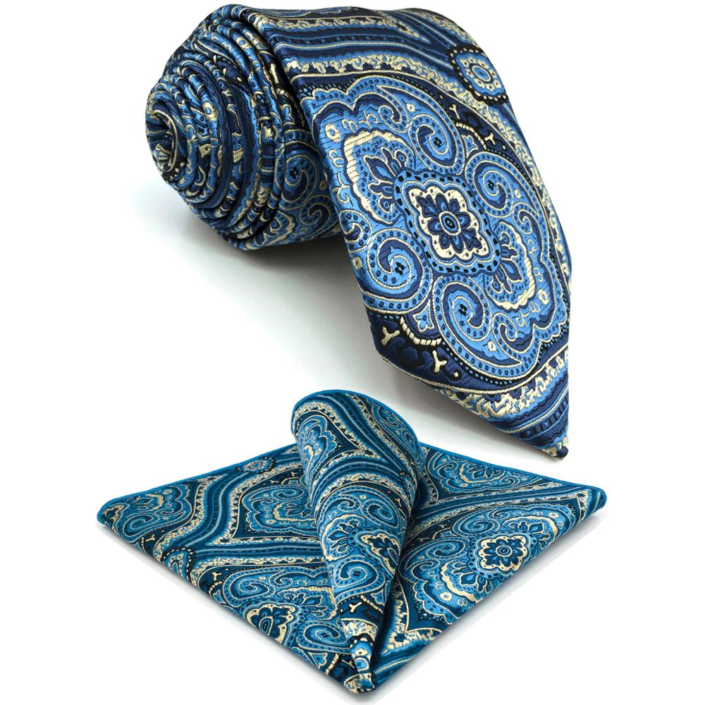 G07 Blue Geometric Mens Neckties Set Silk Business Classic Ties For Men 63