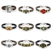 Anime Game Naruto Attack On Titan Black Butler Detective Conan DOTA 2 Final Fantasy Leather Braided Charm Bracelet Woven Bangles