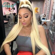 Tam dantel peruk insan saçı peruk kadınlar için Ombre 1b/613 sarışın düz ön koparıp doğal saç çizgisi Remy saç 130% 150% qearl