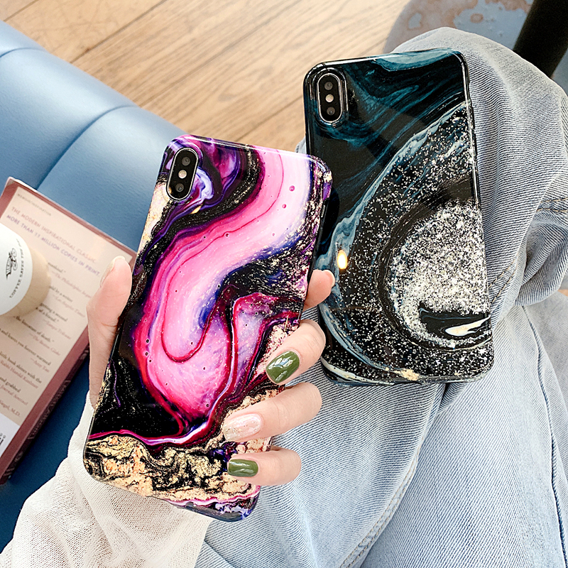 Art Granite Marble Smooth Phone Case For iphone XR Case X 6 7 8Plus XS Max Colorful Vintage Shining Starry Sky Glossy Soft Cover in Fitted Cases from Cellphones Telecommunications