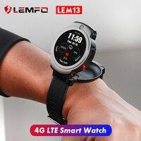 LEMFO LEM13 4G LTE חכם שעון גברים עם Nano SIM כרטיס חריץ 8MP + 2MP כפול מצלמה Smartwatch עמיד למים זיהוי הפנים GPS שעון